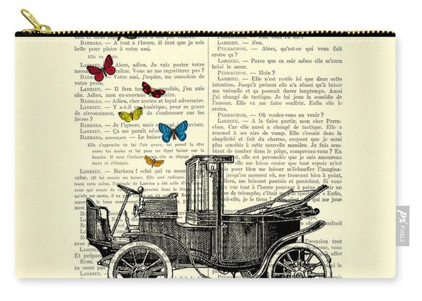 Oldtimer And Butterflies Carry-all Pouch