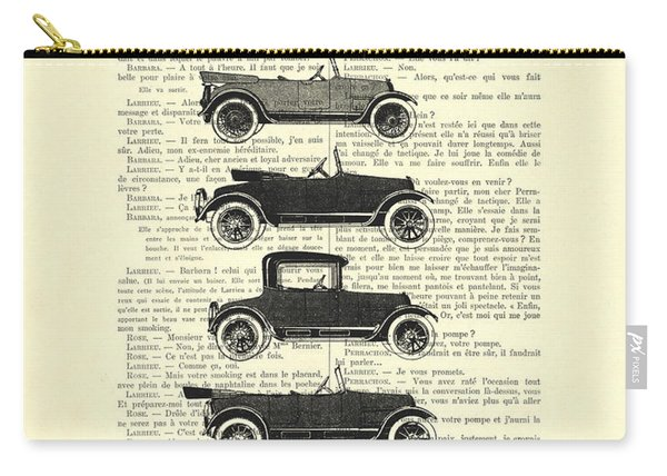 Collection Oldtimers In Black And White Vintage Illustration Carry-all Pouch