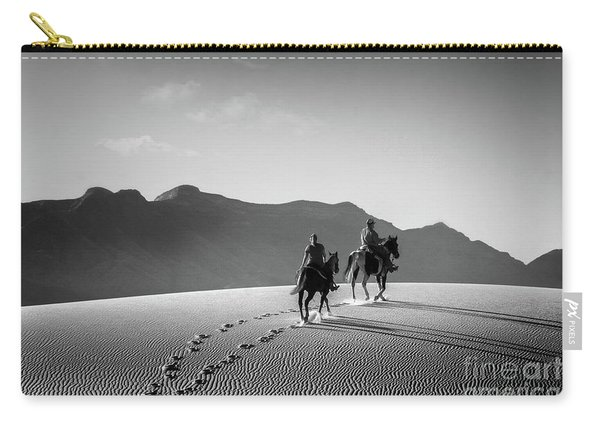 Carry-all Pouch featuring the photograph On Horseback At White Sands by Susan Warren
