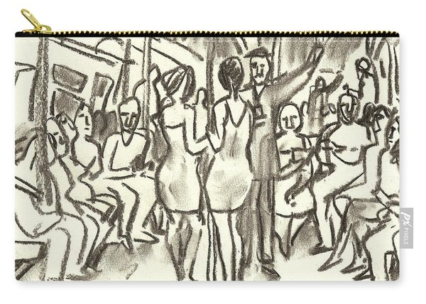 On The A, New York City Subway Drawing Carry-all Pouch