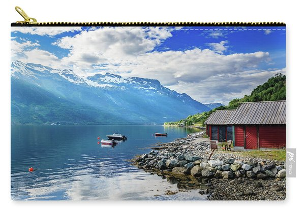 Carry-all Pouch featuring the photograph On The Beach Of Sorfjorden by Dmytro Korol