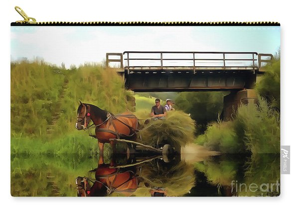 One Brown Horse Transportation Hay On Wooden Cart Carry-all Pouch