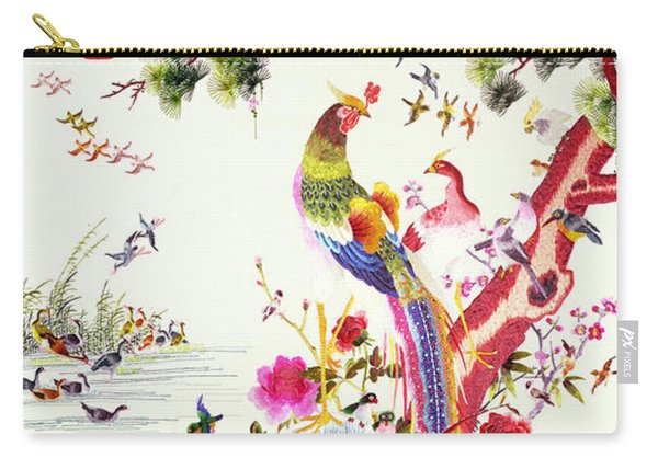One Hundred Birds With A Phoenix, Canton, Republic Period Carry-all Pouch
