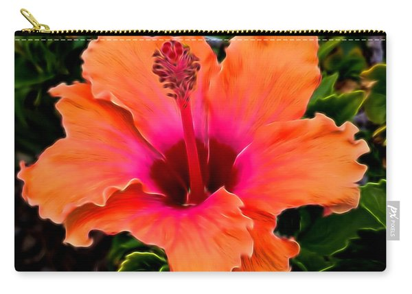 Orange And Pink Hibiscus 2 Carry-all Pouch
