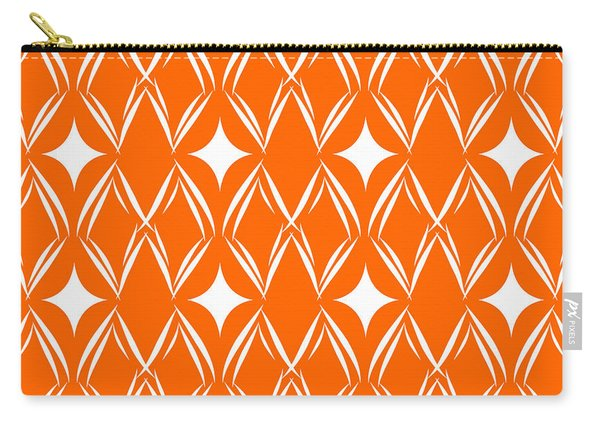 Orange And White Diamonds Carry-all Pouch