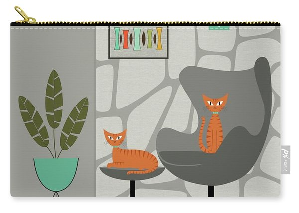 Orange Cat In Gray Stone Wall Carry-all Pouch