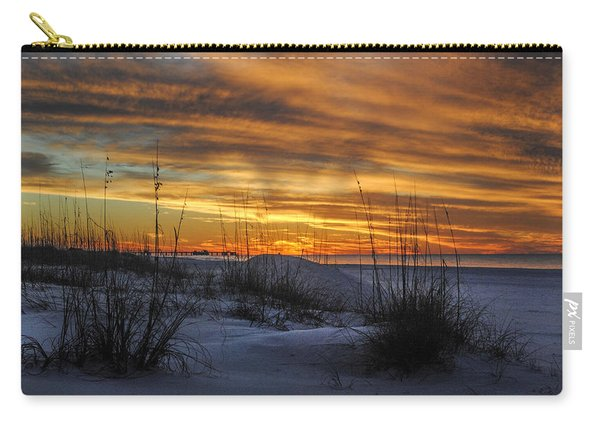 Orange Clouded Sunrise Over The Pier Carry-all Pouch