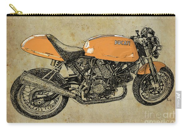 Orange Ducati, Original Handmade Drawing Carry-all Pouch