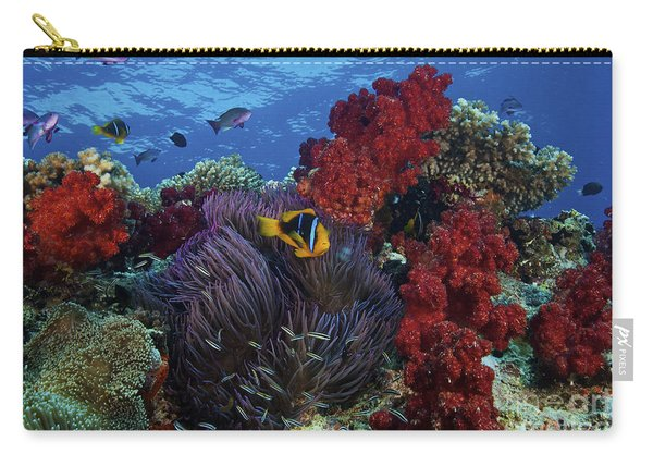 Orange-finned Clownfish And Soft Corals Carry-all Pouch