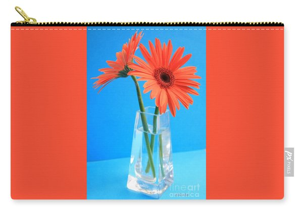 Orange Gerberas In A Vase - Aqua Background Carry-all Pouch