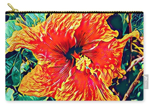 Orange Hibiscus In Crepe - Full View Carry-all Pouch
