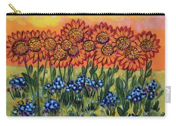 Orange Sunset Flowers Carry-all Pouch