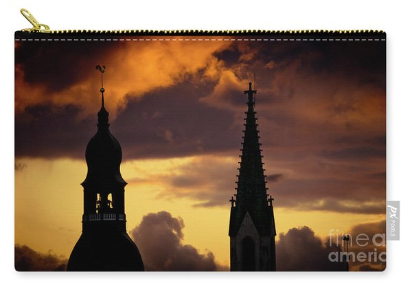 Orange Sunset View In Old Town Riga Artmif Carry-all Pouch