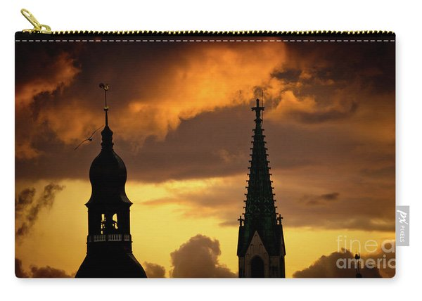 Orange Sunset View In Old Town Riga Carry-all Pouch
