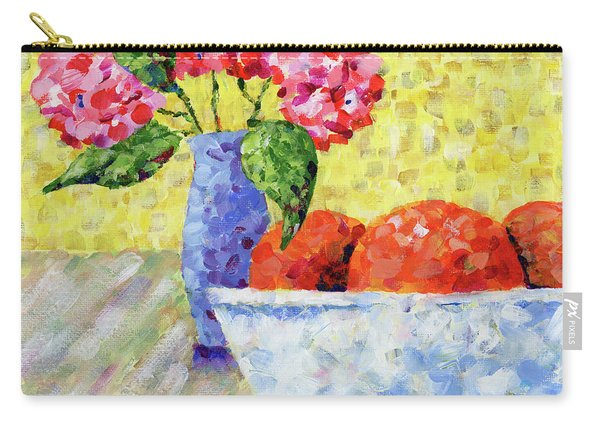 Oranges In Bowl With Flowers Carry-all Pouch