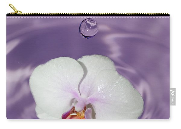 White Orchid Water Drop Carry-all Pouch