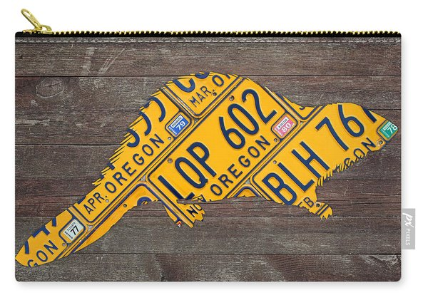 Oregon Beaver Official State Animal Shape Recycled License Plate Art Series Number 003 Carry-all Pouch