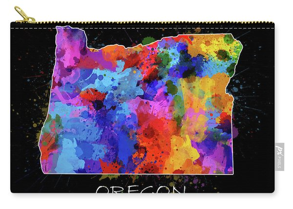 Oregon Map Color Splatter 2 Carry-all Pouch