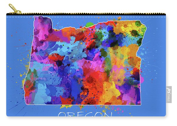 Oregon Map Color Splatter 3 Carry-all Pouch