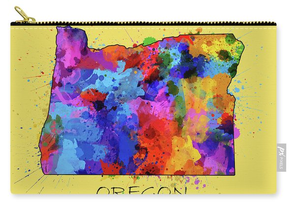 Oregon Map Color Splatter 4 Carry-all Pouch