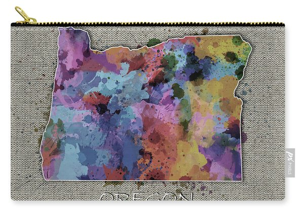Oregon Map Color Splatter 5 Carry-all Pouch