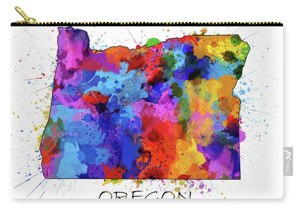 Oregon Map Color Splatter Carry-all Pouch