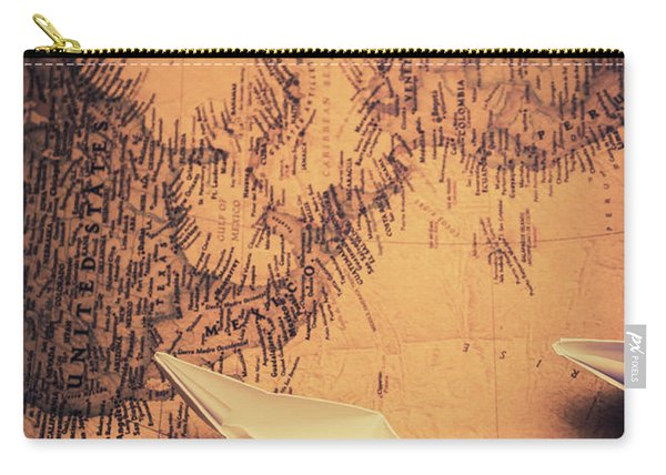 Origami Boats On World Map Carry-all Pouch
