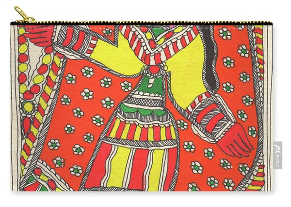 Original Madhubani Painting Indian Village Woman Portrait Watercolor Traditional Artwork. Carry-all Pouch