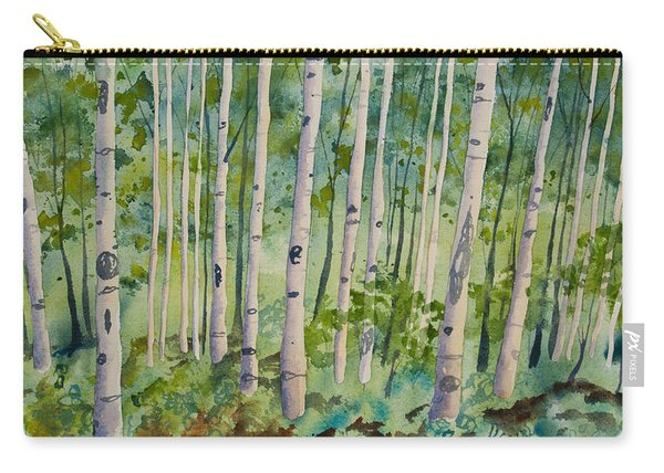 Original Watercolor - Summer Aspen Forest Carry-all Pouch
