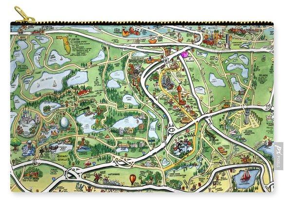 Orlando Florida Cartoon Map Carry-all Pouch