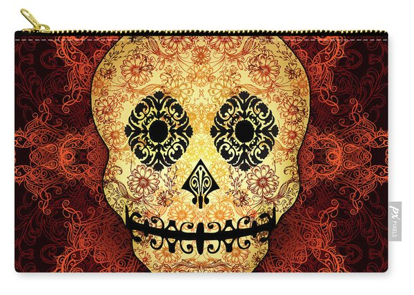 Ornate Floral Sugar Skull Carry-all Pouch