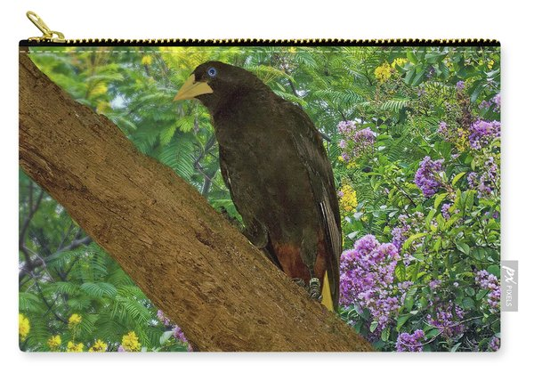 Oropendola Bird On Limb With Floral Background Carry-all Pouch