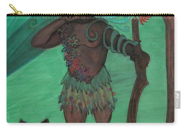 Carry-all Pouch featuring the drawing Osain by Gabrielle Wilson-Sealy
