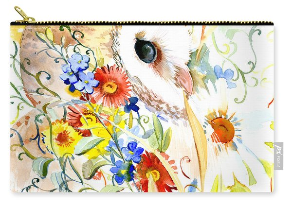 Owl And Flowers Carry-all Pouch
