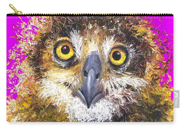 Owl Painting On Purple Background Carry-all Pouch