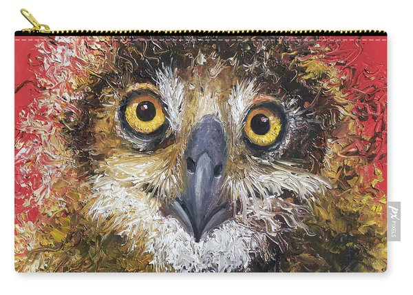 Owl Painting On Red Background Carry-all Pouch