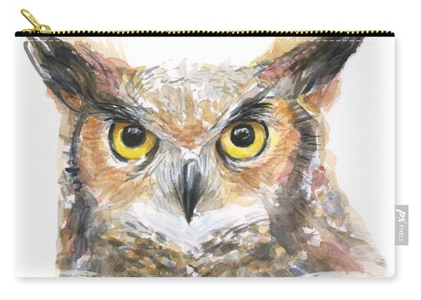Owl Watercolor Portrait Great Horned Carry-all Pouch