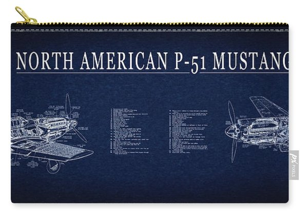 P-51 Mustang Fighter Blueprint Carry-all Pouch