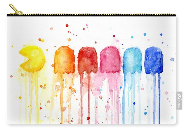 Pacman Watercolor Rainbow Carry-all Pouch