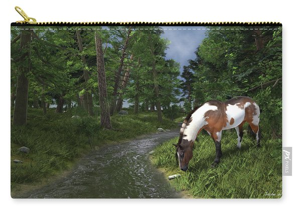 Paint Horse By The Forest Stream Carry-all Pouch