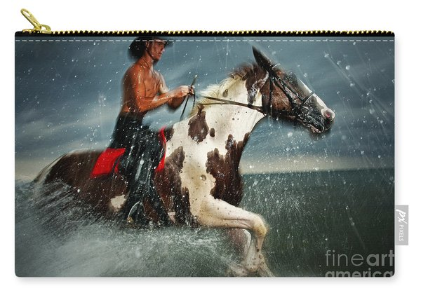Paint Horse Running In The Water Carry-all Pouch