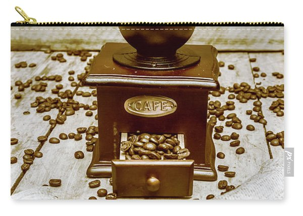 Pair Coffee Bean Bags Spilled In Front Of Grinder Carry-all Pouch