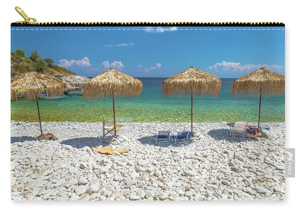 Carry-all Pouch featuring the photograph Palapa Umbrellas by Benny Marty