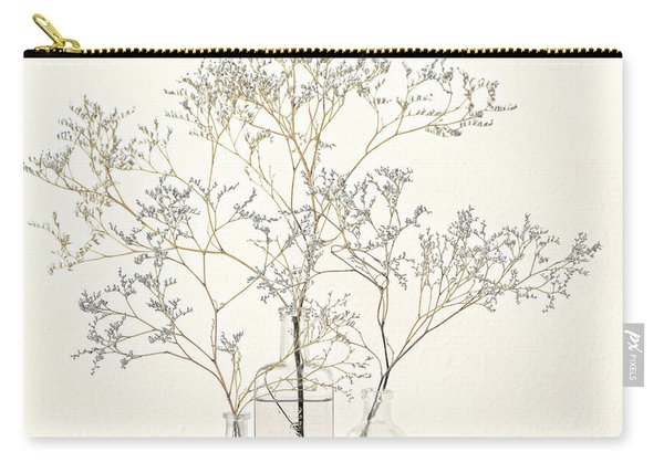 Pale Blue Flowers On White Carry-all Pouch
