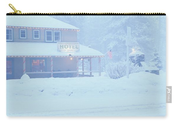 Pale Hotel In Winter Snowstorm, Lake Carry-all Pouch