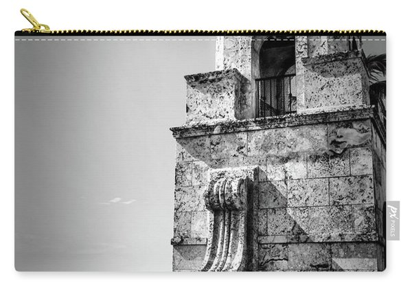 Palm Beach Clock Tower In Black And White Carry-all Pouch