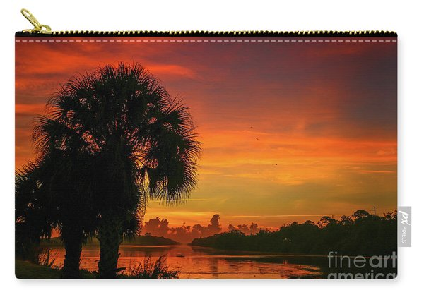 Carry-all Pouch featuring the photograph Palm Silhouette Sunrise by Tom Claud