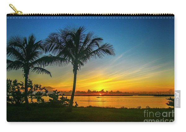 Carry-all Pouch featuring the photograph Palm Tree And Boat Sunrise by Tom Claud