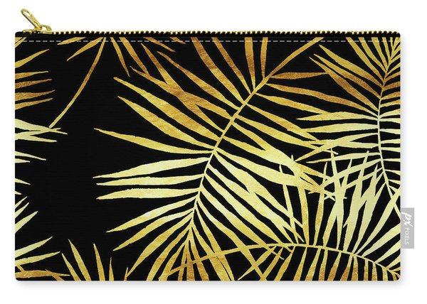 Palmes Dor Noir Golden Palm Fronds And Leaves Carry-all Pouch