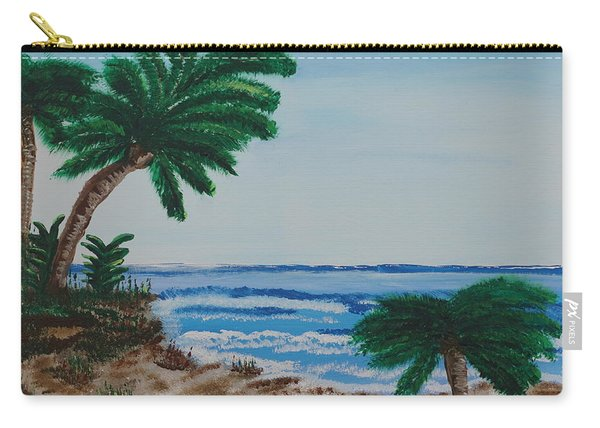 Carry-all Pouch featuring the painting Palms At The Beach by Jimmy Clark